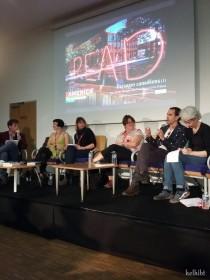 De gauche à droite, l'animateur, Emma Hooper et son interprète, Lise Tremblay, D. W. Wilson et son interprète